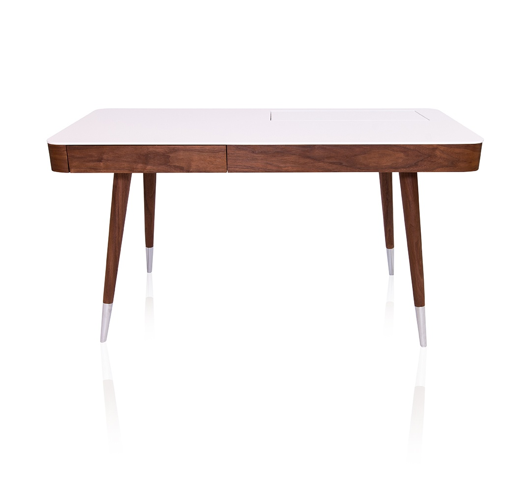 Image of: Linea Mid Century Modern Office Desk In Walnut